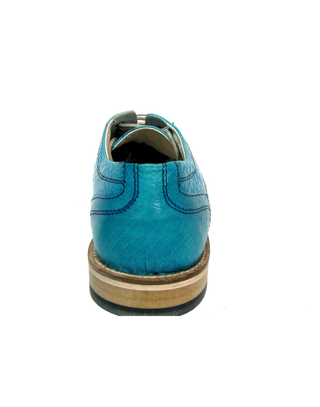 factory authentic fbb8e 2c330 TURQUOISE BLUE DERBY SHOES WITH TWO-TONE HAND FINISH ALLIGATOR LEATHER  ARTICLE-HU167